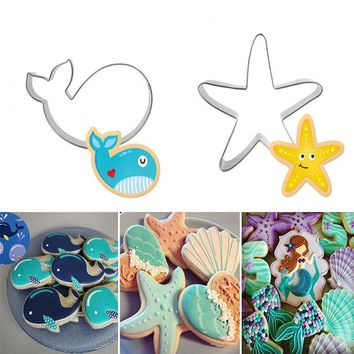 3D Stainless Steel Seabed Animals Whale/Starfish Cookie Cutter Pastry Fondant Cake Biscuit Mold Wedding Cake Decorating Tool