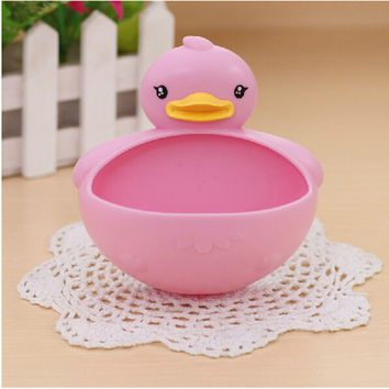 1Pcs High Quality Creative Rhubarb duck  Soap Box Bathroom Soap Dish Holder Sucker container unloading