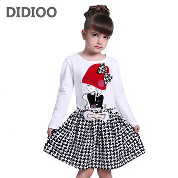 Autumn Girls Long Sleeve Plaid Dress For Girl Clothes Cotton Pattern Baby Children Clothing