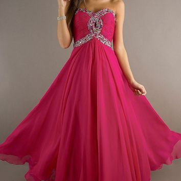 Prom dress 2016 new hot goods shelves beaded criss-cross love party dress chiffon formal evening dress free delivery