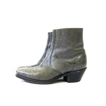Gray Leather ankle Beatle boots with side zippers Cowboy Western Short Boots Hipster Urban Streetwear men's size 8.5 Womens 9 - 9.5