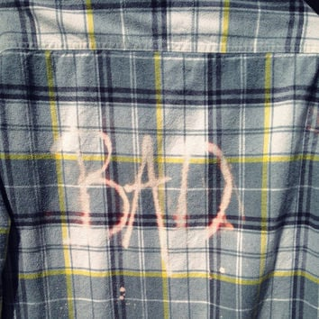 Plaid flannel BAD bleached shirt // soft grunge// grunge large