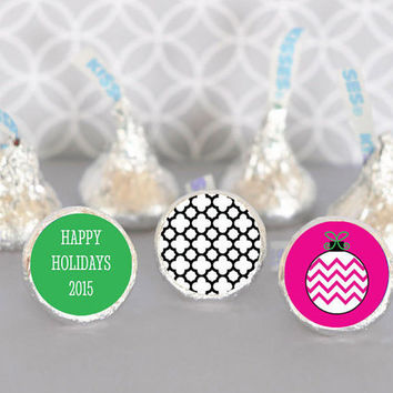 Personalized Holiday Party Candy Kisses Labels Trio - 24pc - Christmas Birthday Favors - Christmas Candy - Stocking Stuffer - Invitation