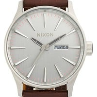 Men's Nixon 'The Sentry' Leather Strap Watch, 42mm