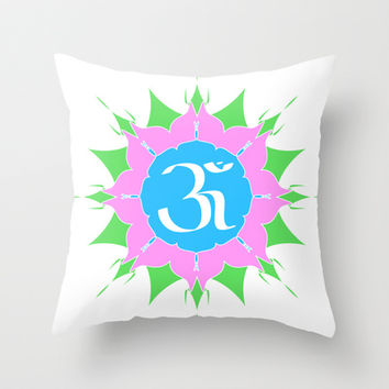 OM symbol on flower Throw Pillow by cycreation