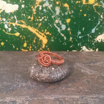 Twin Rose Bud ring-wire wrapped copper ring-liveartstudios