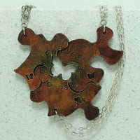 Friendship  Puzzle Piece Necklaces or Key chains Set of 3 Leather Pendants Gold  and bronze painted Forever a piece of me