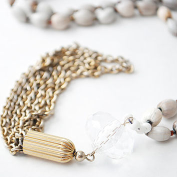 Vintage Beaded Tassel Necklace with Crystal Stone