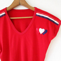 Wms Vintage Retro 70s/80s HEART Red Love V neck Babydoll Crop Top Sz M