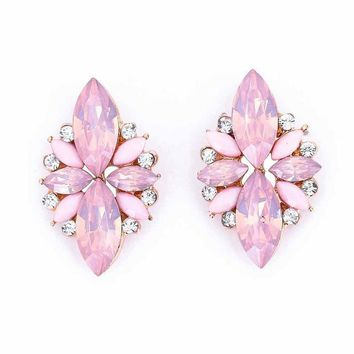 Elegant Opal Stone Stud Earrings Crystal Earrings for Women Trendy Gold Color Earrings