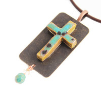 Unique Handmade Ceramic Cross Necklace - Spiritual Jewelry - Unique Gift