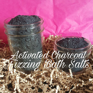 Activated charcoal detox fizzing bath salts- detox bath salts- black bath salts