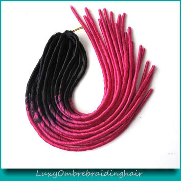 20inch Black Fuschina Pink Ombre Color Faux Locs Crochet Braid Synthetic Soft Dreadlocks Braids in Hair Extensions Weave
