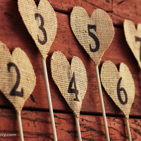 Wedding Burlap Heart Table Number. Rustic Wedding Decor.