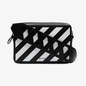 black and white diag leather belt bag