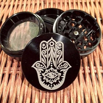 4PC Black Tobacco Grinder; Engraved Herb Grinder; Grinder; Medical Weed Grinder; Medical Marijuana Grinder