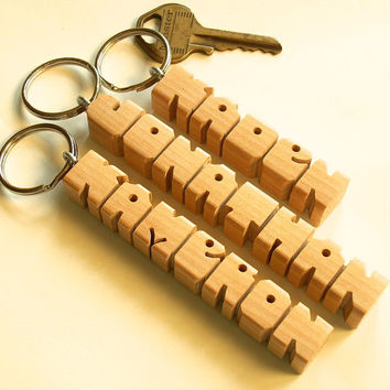 3 PIECE SPECIAL - Birch Wood Name Keychains
