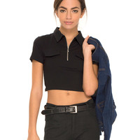 Asha Polo Crop Top in Black by Motel