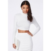 Missguided - Roll Neck Long Sleeve Crop Top White