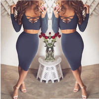 ♡ Sexy Club Dress Long Sleeve 2 piece set bandage bodycon dress ♡