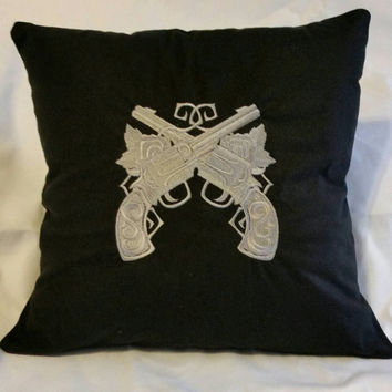 Pistols and roses handcrafted embroidered pillow cover guns with flowers black cushion  cover