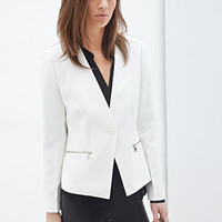 FOREVER 21 Zip Pocket Blazer Cream