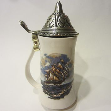 Nelcon McCoy Pottery Co Nautical Ceramic Pewter Stein