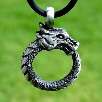 1pcs deropshipping new arrival fashion antique silver plated  ouroboros norse dragon pendant viking necklace men jewelry