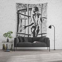 Secret Window - black and white conte, erotic nude girl, sexy blonde posing naked, kinky adult art Wall Tapestry by Casemiro Arts - Peter Reiss