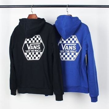 "VANS autumn and winter new ""OFF THE WALL"" series lattice control plus velvet hoodie"