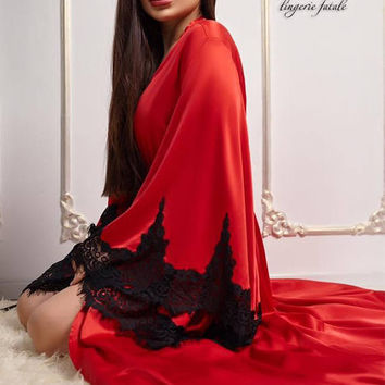 Royal Robe, Red Black Kimono, Peignoir Nightgowns, Lace Sleeve Robe, Luxury Nightwear, Night Gown For Women, Red Nightgown, Red Robe Glamour