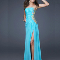 WowDresses — Elegant Sheath/Column Strapless Neckline Floor Length Chiffon Evening Dress