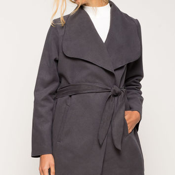 Wide Collar Drape Front Jacket