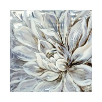 Snowy Bloom Wall Decor Acrylic Painting Pine Wooden Bar