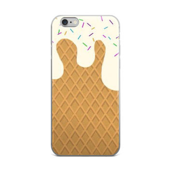 Waffle Ice Cream Cone With Sprinkles iPhone 4 4s 5 5s 5C 6 6s 6 Plus 6s Plus 7 & 7 Plus Case