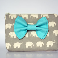 Accessory Pouch Accessories Bag Cosmetic Case MakeUp Bag Lens Pouch Zippered Grey Elephant with Aqua Double Bow