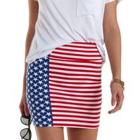White Combo Americana Bodycon Mini Skirt by Charlotte Russe