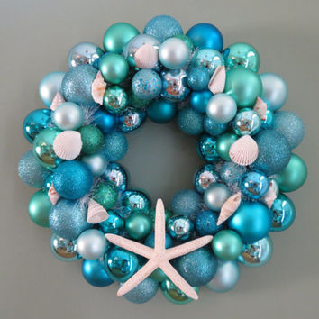 SUMMER BEACH Wreath -AQUA Seafoam Turquoise Ornament Wreath with Starfish
