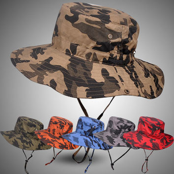 Pluz Size Bucket Hat for Men Big Head Male Summer Outdoors Fishing Hat Women Camouflage Sunscreen Fisherman Sun Hat 59-63cm