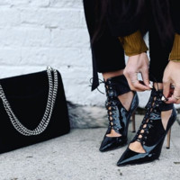 Lacey Black Patent Lace Up Booties
