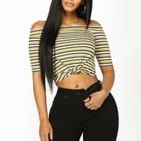 Sting Like A Bee Off Shoulder Top - Yellow Combo