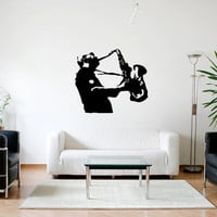 Wall Decal Vinyl Sticker Decals Art Decor Music Style Man Vintage Sax Saxphone Music live Perfomance Instrument Jazz Jazzman songs (r72)