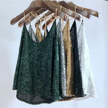 ESBONHS 2017 Women Sequined Camis V-Neck Backless Tank Tops Summer Sexy Camis Tops