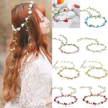 CREYN3C Rose Flower Crown Headband Women Hair Garland Bride Wedding Womens Headwear Summer Beach Accessories Femme Headbands F4
