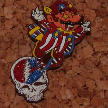 Grateful Mario - Sparkle - Glow - Flying Mario - Carnival mario - Grateful Dead - Stealie - Hat Pin - Lapel Pin