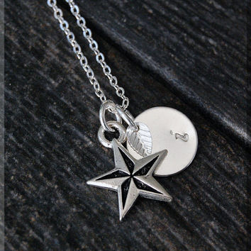 Silver Nautical Star Necklace, Initial Charm Necklace, Personalized Necklace, Nautical Charm, Star charm, Star Pendant, Nautical Jewelry