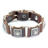 Top Value Jewelry - Mens Brown Leather Square Link Cuff Biker Bracelet with Vintage Silver Plated Studs - Like Love Buy