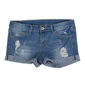 Medium Wash Cuffed Shorts