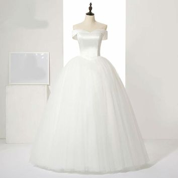 Sexy Boat neck style satin with silky organza wedding dress ball gown