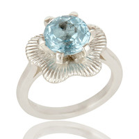 Prong Set Blue Topaz Gemstone Cocktail Ring In Sterling Silver